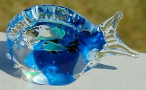 Vintage Murano Hand Made Art Glass Blue amp; Clear Fish Paperweight $6.00