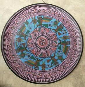 Pisac Peru Peruvian Decorative Tribal Souvenir Painted Wooden Plate:Wall Hanging