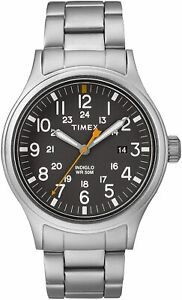 Timex Men#x27;s TW2R46600 Allied 40mm Black Dial Stainless Steel Watch