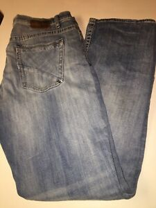 BKE TYLER Straight Leg Distressed Blue Denim Designer Jeans Men's Size 36x34