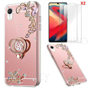 Ring Holder Mirror Soft Phone Cases Cover With Screen Protector Film For Samsung