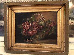 Antique Victorian Oil Painting Pink And Red Roses Early Wood Frame $350.00