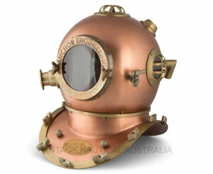 DIVING HELMET ANTIQUE U.S NAVY ARMOUR IN COPPER FINISH MARK IV COLLECTIBLES $192.00