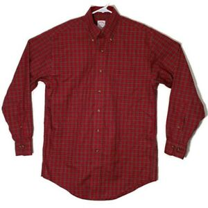 Brooks Brothers 1818 Mens Small Red Check Plaid Long Sleeve Button Down Shirt $21.99