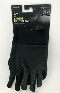 New Nike Men#x27;s Large Outdoor Running Gloves Black Dri Fit Touch Screen #60 $19.99
