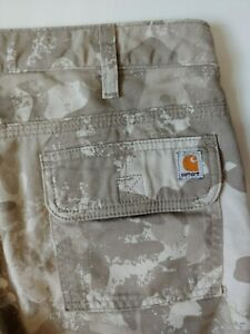 CARHARTT Camouflage Capri Cargo Jeans Womens Size 2 Camo Brown Cropped Cotton
