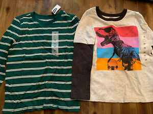 Old Navy Boys Shirts Size 5T Long Sleeve LS Lot of 2 Striped Dinosaurs NEW NWT $11.99
