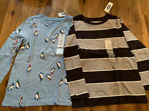 Old Navy Boys Shirts Size 5T Long Sleeve LS Lot of 2 Striped Penguins NEW NWT $11.99