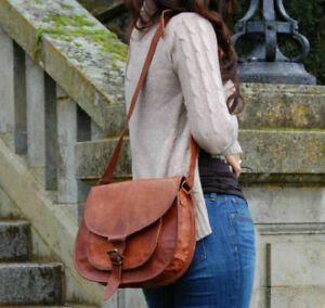 Womens Vintage Genuine Brown Leather Messenger Shoulder Cross Body Bag