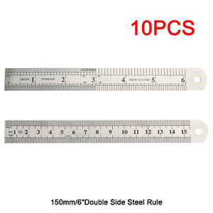 Double Side Metal Ruler Stainless Steel 15cm 6quot; E $6.99
