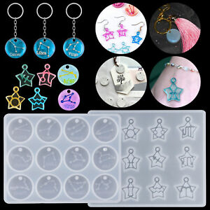 Silicone 12 Constellations Keychain Jewelry Making Casting Mold Resin Craft DIY