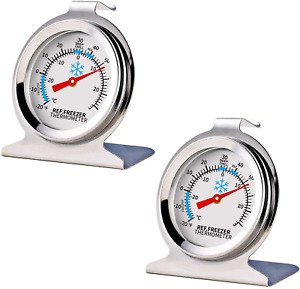 2 Pack Refrigerator Freezer Thermometer Large Dial With Instant Read NEW $5.50