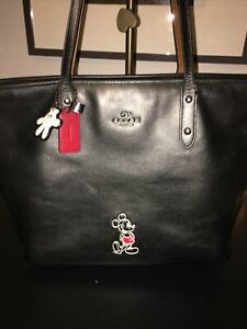 LTD ED ORIGINAL Coach x DISNEY Mickey Mouse City Tote in BLACK Red Lining