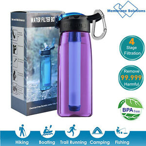 4 Stage Filter Water Bottle Intergrated Straw Camping Hiking Backpacking Travel $17.76
