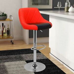 Modern Mixed Color Red amp; Black Bar Stool Chair Adjustable Home Counter Set of 2