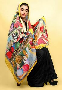 Persian Miniature Painting Soft 100% Cotton Scarf Lightweight Yellow Wrapping