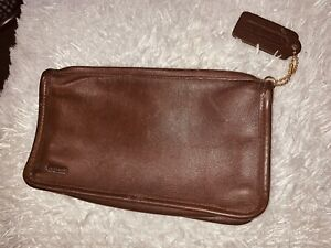 Coach Wallet Vintage Smooth Saddle Brown Leather Zip Top Pouch Bag