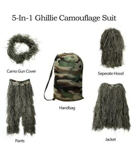3D Tactical Camouflage Clothing Hunting Sniper Ghillie Suit Woodland