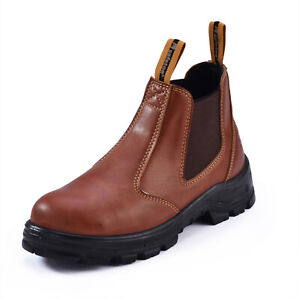 SAFETOE Brown Safety Boots Mens Work Shoes Water Resistant Steel Toe Slip New $44.69