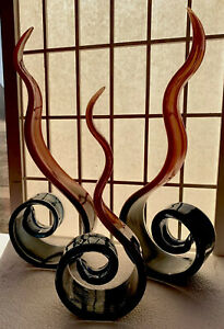 "New Lot Of 3 Blown Glass Modern Sculptures 15.5"" amp; 11"" Tabletop Decor Pretty $75.00"