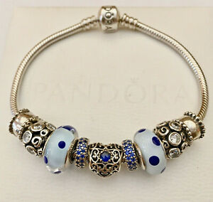 Authentic PANDORA RETIRED 7.9quot; Bracelet Beads Charms amp; Clips w Box