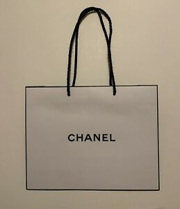 CHANEL Signature Shopping Gift Paper Bag White and Black $7.00