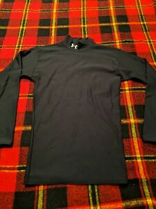Mens Under Armour Cold Gear Mock Neck Base Layer Solid Black Shirt Size M $21.84