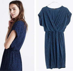 Madewell Dress Womens Large L Square Polka Dot Blue Geo Crossover $18.00