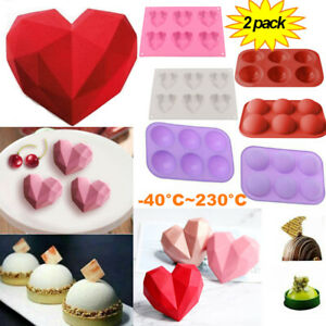 2Pack Silicone 3D Heart Shape Cake Mold Fondant Chocolate Baking Mould DIY Tool $10.89