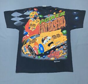 Vintage XL 1999 Ernie Irvan Mamp;M NASCAR All Over Print Shirt Racing Tee AOP 90s