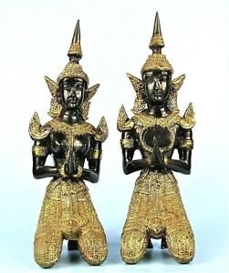 GILT BRONZE THAI ANGEL STATUES 8.5quot; M amp; F SIAMESE THEPPHAMON METAL SCULPTURES $105.60
