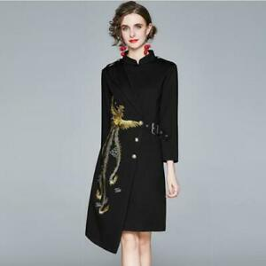 Womens Fashion Ethnic Style Embroidered Stand Collar Irregular A Line Dress SUNS $39.99