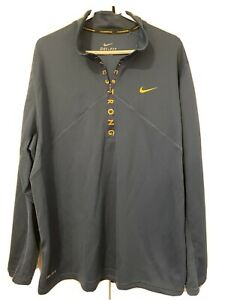 NIKE FIT DRY LIVESTRONG 1 2 ZIP LONG SLEEVE PULLOVER MENS 2XL EUC BLUE $24.88