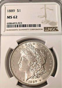 1889 Morgan Silver Dollar NGC MS62 NICE COIN CLEAN PL LIKE $57.00