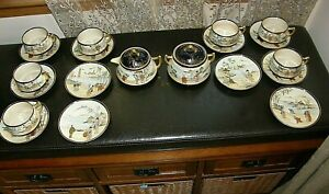 Japanese Tea Set Teapot Sugar Cups Saucers Satsuma by Koshida Hand Painted Vtg