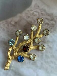 Vintage Signed Van Dell 1 20 12k GF Rhinestone Family Tree Branch Pin Brooch $15.00