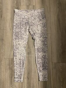 "Lululemon Size 10 Wunder Under Low Rise Full On Luxtreme 28"" White Multi $58.00"