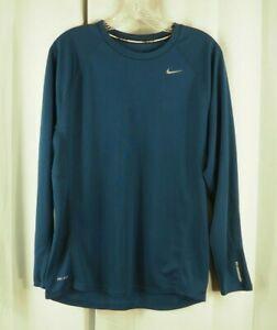 NIKE RUNNING Dri Fit Mens Long Sleeve Athletic Workout Shirt Blue M #220 $18.99