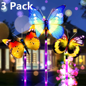 3 Pack Solar Garden Butterfly Lights Outdoor Landscape Multi Color Changing Path $16.99