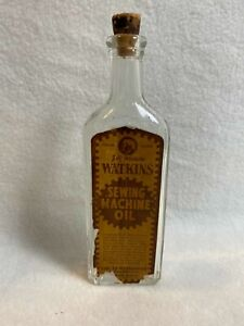 Vintage J.R. Watkins Clear Sewing Machine Oil Bottle with Cork Top for Display $38.50