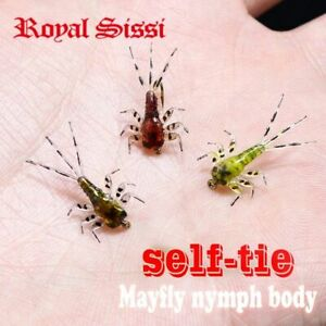 Mayfly nymph rubber body with thin skin stickers fly fishing 60pcs set