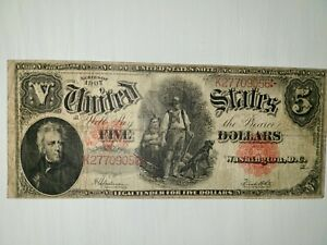 $5 DOLLAR SERIES OF 1907 WOOD CHOPPER MISCUT VERY CLOSE AT TOP