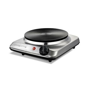 Ovente Electric Cast Iron Burner 7 Inch Single Hot Plate Cooktop Silver BGS101S