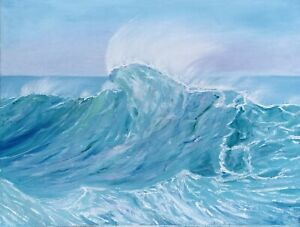 Ocean Painting Wave Seascape Original Canvas Art 18 by 24 Inches $98.00