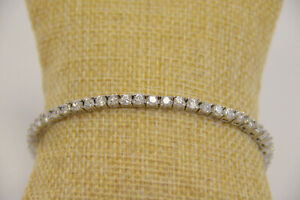 Simulated Diamond Tennis Bracelet Silver Colored