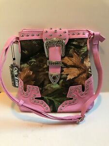 Western Pink Oak trees camouflage purse with rhinestone decorationNewWithTags