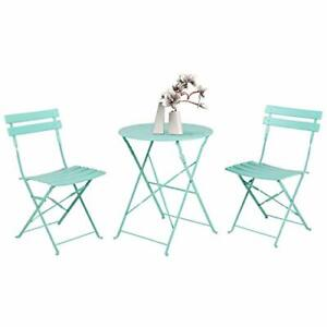 3pc Metal Folding Bistro Set 2 Chairs and 1 Table Weather Macaron blue $146.19