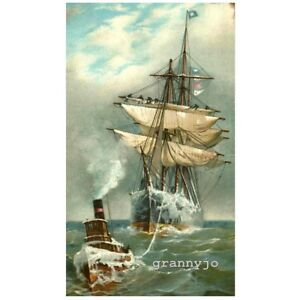 Fred Pansing Chromolithograph A Stormy Voyage Listed Artist 1893 $300.00