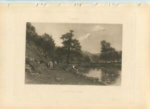 ANTIQUE COWS HERD STEER CATTLE STREAM RIVERS LANDSCAPE HILLS VALLEY NATURE PRINT $2400.00