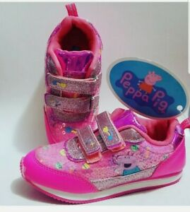 Peppa Pig Girls Shoes Size 12 toddlers Flats Sneakers Hook Loop Pink Sparkle $24.99